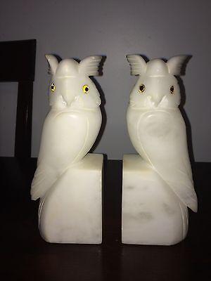 Pair Vintage White Alabaster Onyx Stone Owl Figurine Bookends Jim Tirrenia Italy