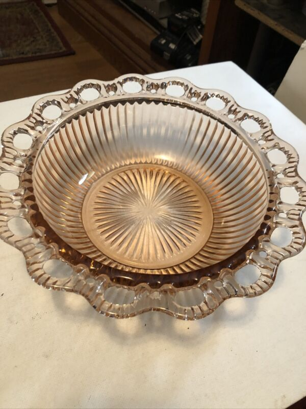 """Vintage Imperial Rose Colored Glass Laced Edge Bowl 9.5"""""""