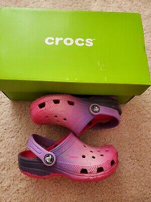 Girls Ombre Pink Purple Crocs size 10c