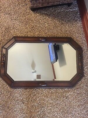 Antique Jacobean Medium/dark tone Oak Octagon Beveled WALL MIRROR * Beautiful!, used for sale  Edmond