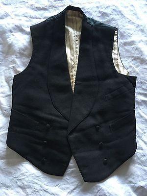 Antique black wool Victorian waistcoat unisex