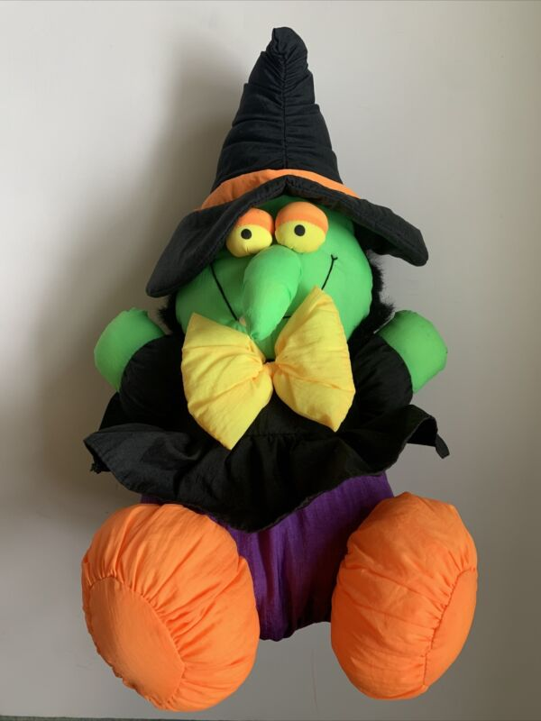 "Vtg Sitting WITCH Nylon Stuffed Plush Toy 14"" MYT International  Furry Hair EUC"