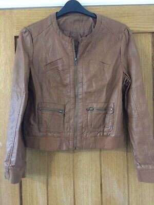 Brown Tan Faux Leather Jacket Size 16