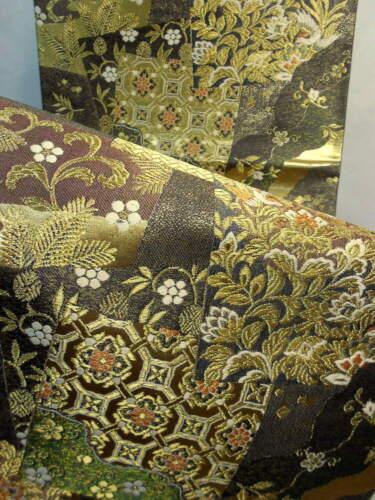 "Japanese Kimono SILK Fukuro OBI, Rokutu ,Gold thread/ foil, Plants, L170""...1679"