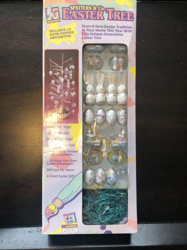 Easter Tree Bunny Rabbit Birds Eggs Vintage Kit Hand Painted Wicker Ornaments