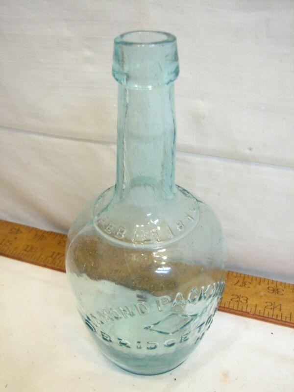 Antique Blob Top Bottle Diamond Packing Bridgeton NJ 1870 Patent Aqua