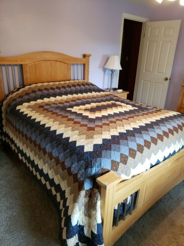 Amish Handmade Queen Sized Quilt Blue Brown Ivory Gray