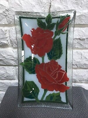 "Peggy Karr Rectangle signed Art Fused Glass plate tray, 10"" x 6"" Roses"