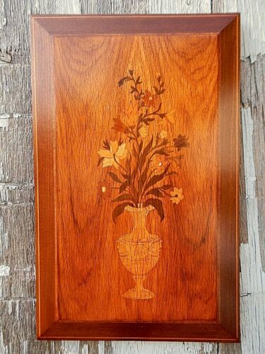 Marquetry, Woodworking, Antique Handmade Wall Hanging.
