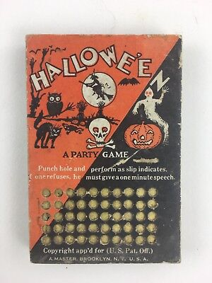 A Halloween Party Games (Vintage Halloween A Party Game Punch Card Board)