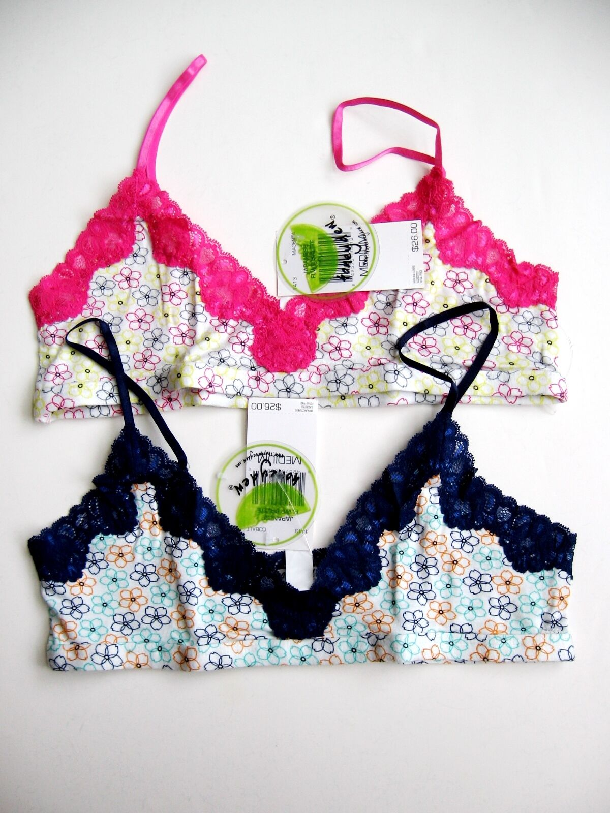 www.prominentresults.com :A273 Honeydew Intimates NEW 1413 Luxurious Lace Trim Japanese Flower Bralette PR