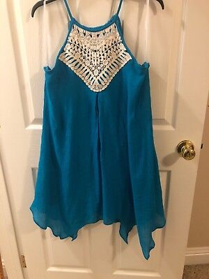 A. Byer Teal Size Large L Juniors Dress With Handkerchief - Dress With Handkerchief Hem
