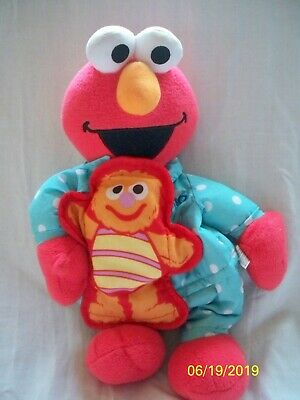 Bed Time Elmo Polka Dot Pajamas Plush Stuffed Sesame Street Polka Dot Elmo