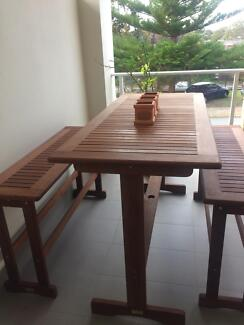 Bargain! Wooden bar table and  2 benches