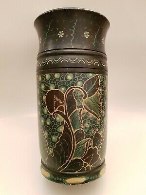 Vintage Austrailian Hand Painted Large Decorative Wooden Vase