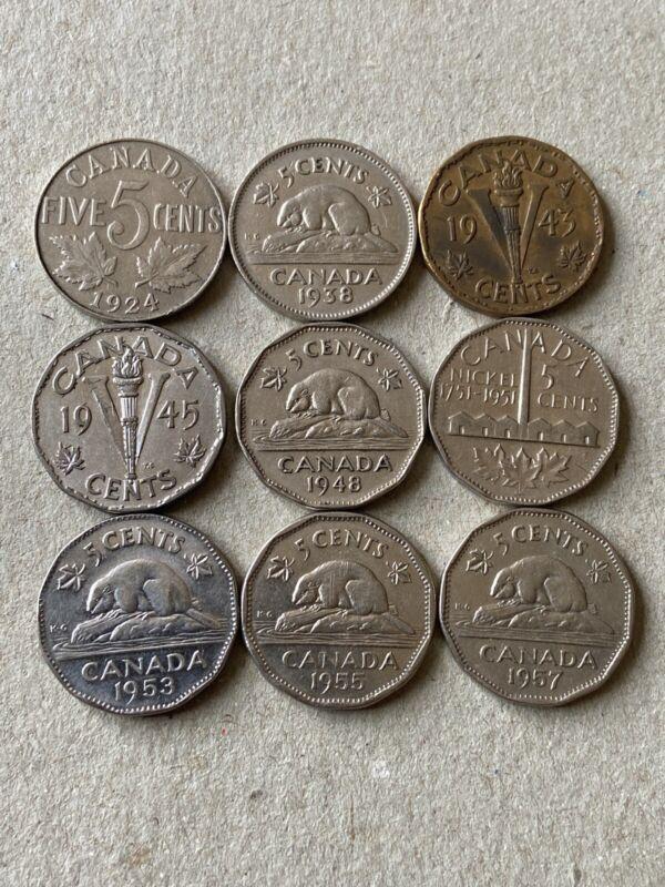 1924-1938-1943-1945-1948-1951-1953-1955-1957 Canadian Nickels,Circ.#5
