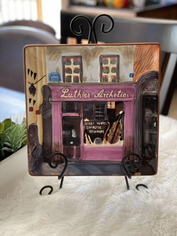 Ceramic decorative square plate, 10in, music Store Design