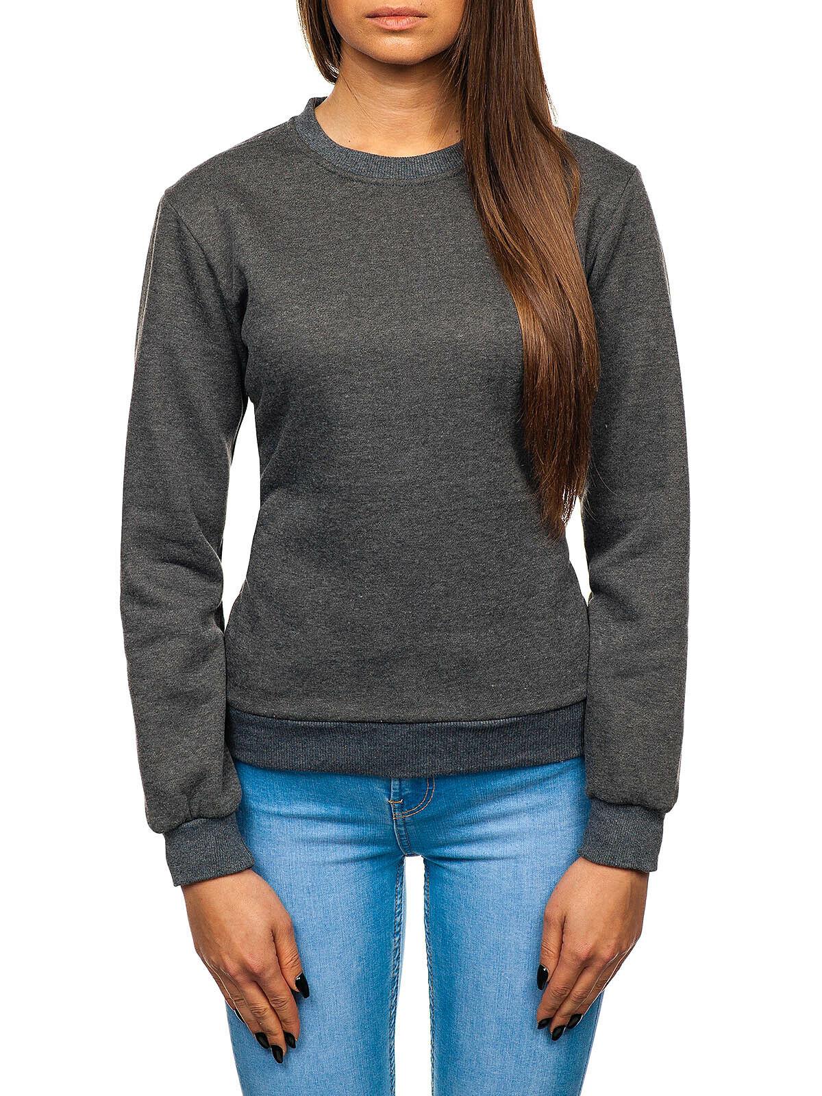 Sweatshirt Langarmshirt Pulli Basic Rundhals Sport Unifarben Damen BOLF Classic