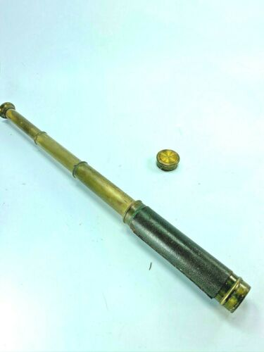 Antique Brass Leather Covered Spyglass Telescope France 31996