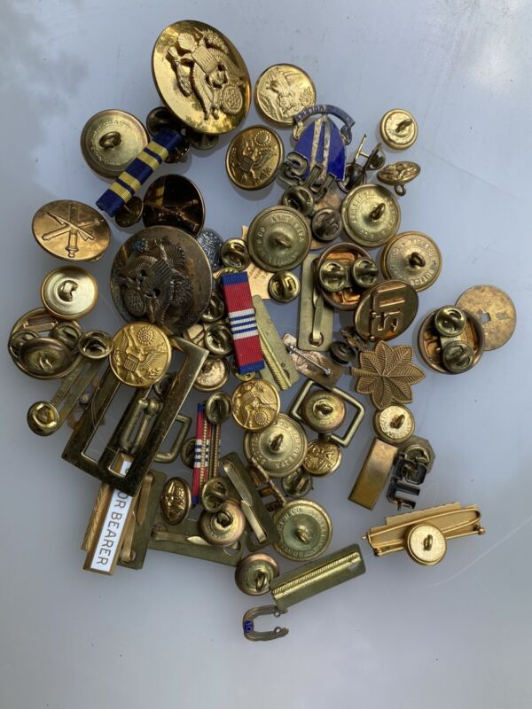 Junk Drawer Reseller Lot  Over 60 Pieces Military Pins Buttons Badges