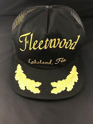 Lakeland Hat (VTG 80s Fleetwood Gold Leaf Lakeland Florida Black Mesh Snapback Trucker Hat)