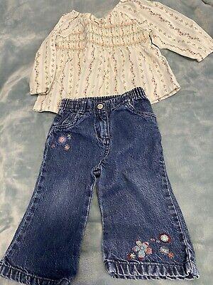 GYMBOREE - Vintage Smocked Blouse & Jeans - 12-18m