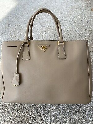 PRADA Biege Saffiano Lux Textured Leather City Tote - 100% Authentic $2195 (Prada City)