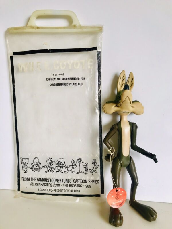 Vintage Looney Tunes WILE E. COYOTE toy by R. DAKIN - Original Bag and Tag.-11""
