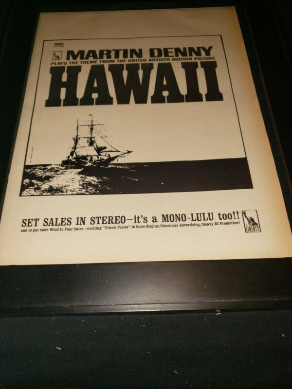 Martin Denny Hawaii Rare Original Promo Poster Ad Framed!