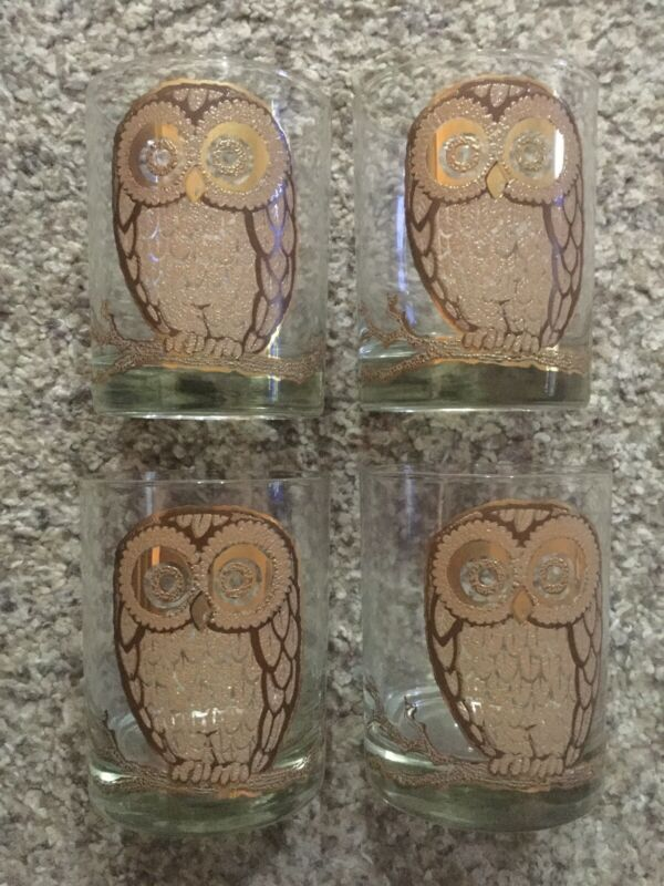 Lot x4 MCM Vintage Georges Briard OWL Old Fashioned Rocks Gold Tumbler Glasses