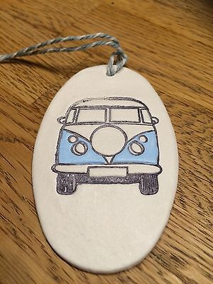 Beautiful Handmade Clay Hanging Pale Blue VW Camper Van Decoration/gift Tag New
