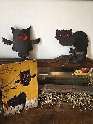 Vintage Hallmark Cat & Owl Halloween Decorations