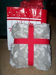 Silver/Grey Plush Throw  - New, and gift-wrapped