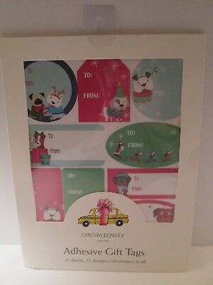 Dog Holiday Christmas Adhesive Gift Tags 110 stickers so CUTE! Dog Gift Tags