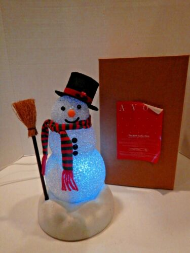 Vintage Avon Chilly Sam Light-Up Snowman in Original Box Christmas Holiday WORKS