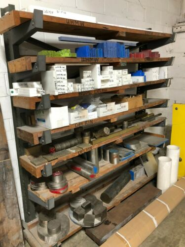Plastic raw material & metals assortment for machine shop with storage rack