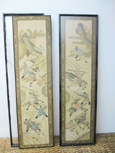 "Chinese Kesi Textile Panels 12"" x 41"" Late 19th Century"