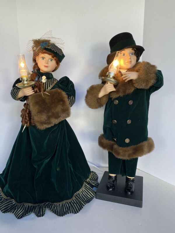 "27"" TRADITIONS ANIMATED VICTORIAN COUPLE Christmas Animated Moving Figures"