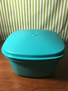Tupperware  Multi Server Vintage Square Steamer with Insert Microwave Aqua New