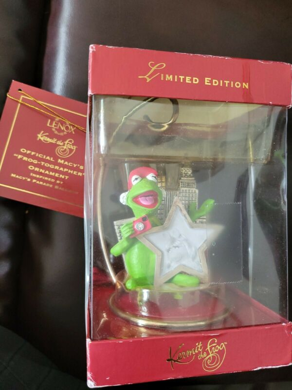 Lenox 2002 Christmas Ornament Kermit The Frog Macy's Frog-Tographer Day Parade