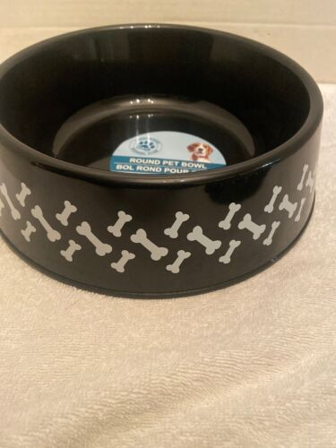 New Black Round Plastic Pet Dog Or Cat Bowls, 9.75 In. With Bone Design - $2.00