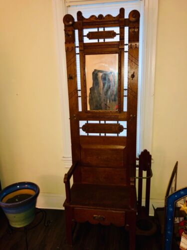 1900s antique hallway Stand Mirror umbrella coat seat Rare ornate - hall tree