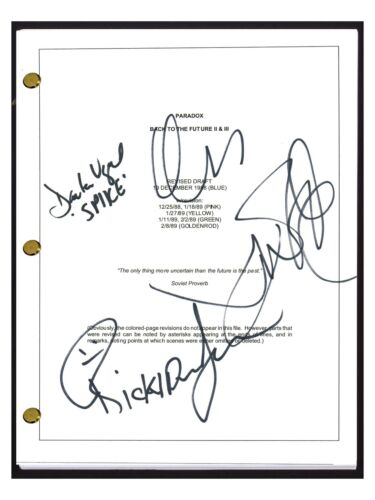 Back To The Future Part II 2 Cast Signed Movie Script x4 Charles Fleischer COA