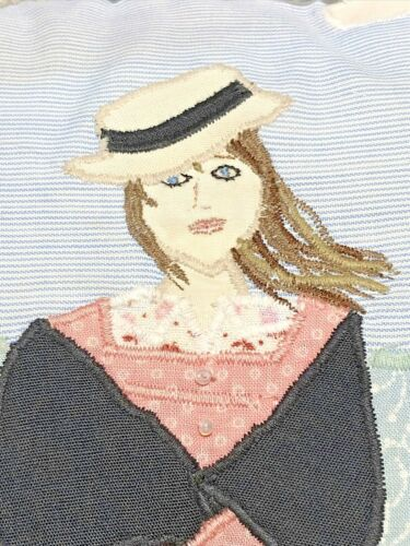 Vintage+Pillow+Needlework+Folk+Art+Hippie+Farm+Girl+Artist+Designed+Romantic+
