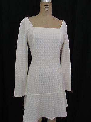 Venus Ivory Cream Long Sleeve Textured Dress Size 12