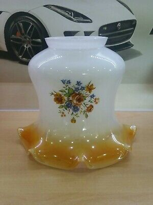 Vintage Retro Glass two toned floral ruffled tulip light lamp shade
