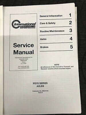 International Transmission Pd70 Axles Series Repair Service Manual Jcb Sellick