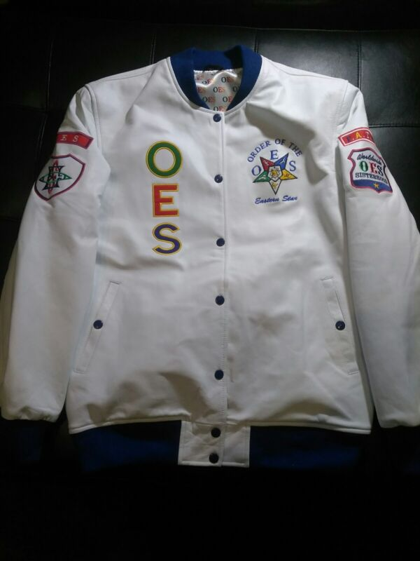 Order Of Eastern Star- All White All Leather Varsity Jacket