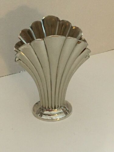 Vintage Silver Plate Art Deo Fan Vase with Liner ~ BEAUTIFUL!!!