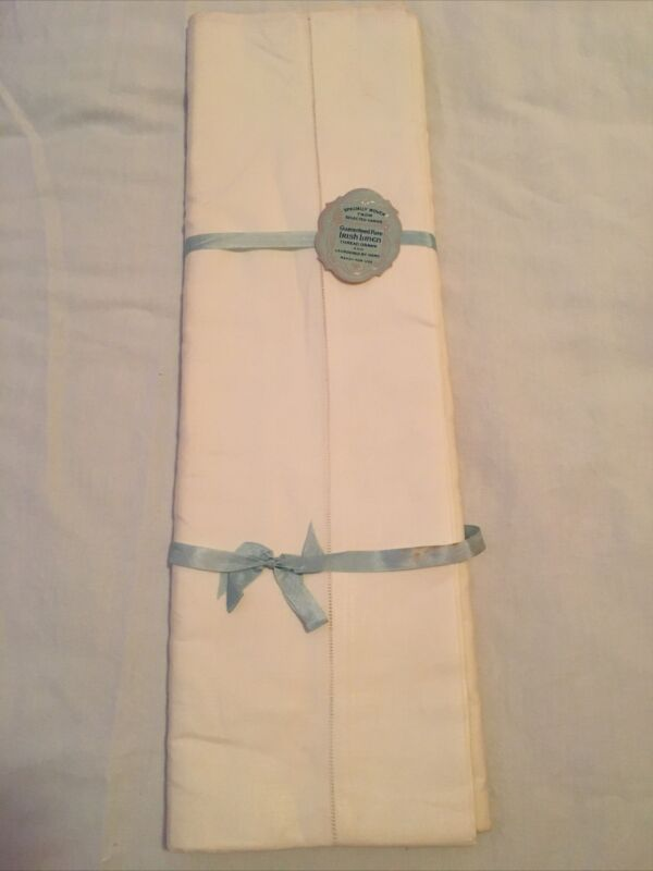 "Vintage Pure Irish Linen Sheet Flat Bed Sheet 90"" X 108"""